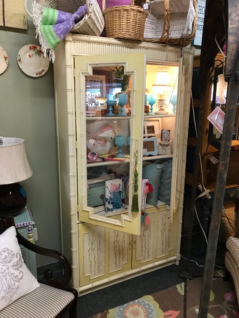 Thomasville Yellow Bamboo China Cabinet